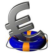 Euro symbol silver on the lifebuoy pontoon blue — Stock Photo