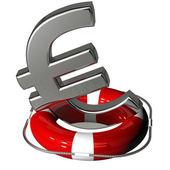 Euro symbol silver on the lifebuoy pontoon red — Stock Photo