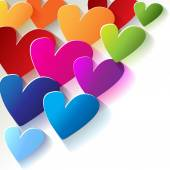 Valentine's Day colorful hearts  in the corner white background — Stok Vektör