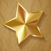 Gold star vector on crumpled paper brown background — Stock Vector