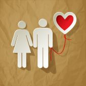 Valentine's Day couple with balloon heart vector on crumpled paper brown background — Stock Vector