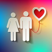 Valentinstag-Paar mit Ballon-Herz auf Regenbogen Hintergrund Vektor — Stockvektor