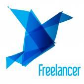 Freelancer Logo bird origami blue — Stock Vector