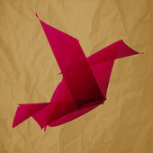 Freelancer Logo bird origami pink on crumpled paper brown background — Stock Vector