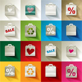 Paper bag sale icon set patchwork — Stock Vector