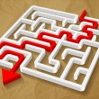 Labyrinth maze 3d red arrow vector on crumpled paper brown background — Stock Vector #66434757