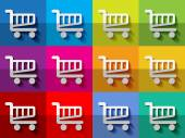 White shopping carts on checkered colorful pattern background — Vettoriale Stock