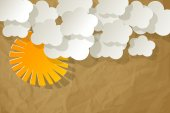 White clouds with sun on crumpled paper brown background — Stock Vector