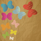 Color butterflies scribble on a crumpled paper brown background — Stock Vector