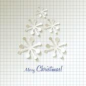 Boże Narodzenie drzewo papieru płatki śniegu na tle │╣czenie — Wektor stockowy