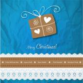 Christmas postcard vintage vector gift on a crumpled paper blue background. — Stock Vector