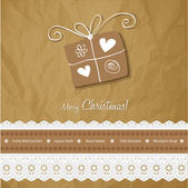 Christmas postcard vintage vector gift on a crumpled paper brown background. — Stock Vector