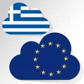 Flags of European Community and Greece as clouds on a white background. — Stock Vector