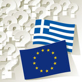 Flags of European Community and Greece with question marks. — Stock Vector