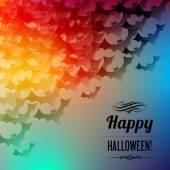 Happy Halloween postcard with black bats in the corner on a rainbow background. — Stock Vector