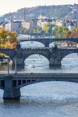 View of bridges on Vltava river — Stock Photo