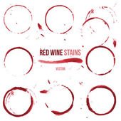 Red wine stains on white background — Stock Vector
