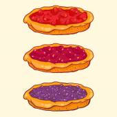Set of berry pies - strawberry, cherry, blueberry — Stock Vector