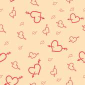 Valentine seamless pattern of hearts — Stock Vector