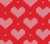 Seamless knitting pattern with hearts — Stock Vector