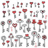 Keys of hearts hand-drawing set  — Stock Vector