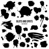 Set of abstract isolated grunge spots and blots — Stok Vektör