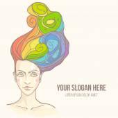 Women head with rainbow hair — Stock Vector
