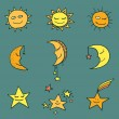 Sun, moon and stars vector icons. — Stock Vector #63629665