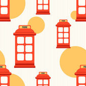Seamless pattern with red phone booth — Stock Vector