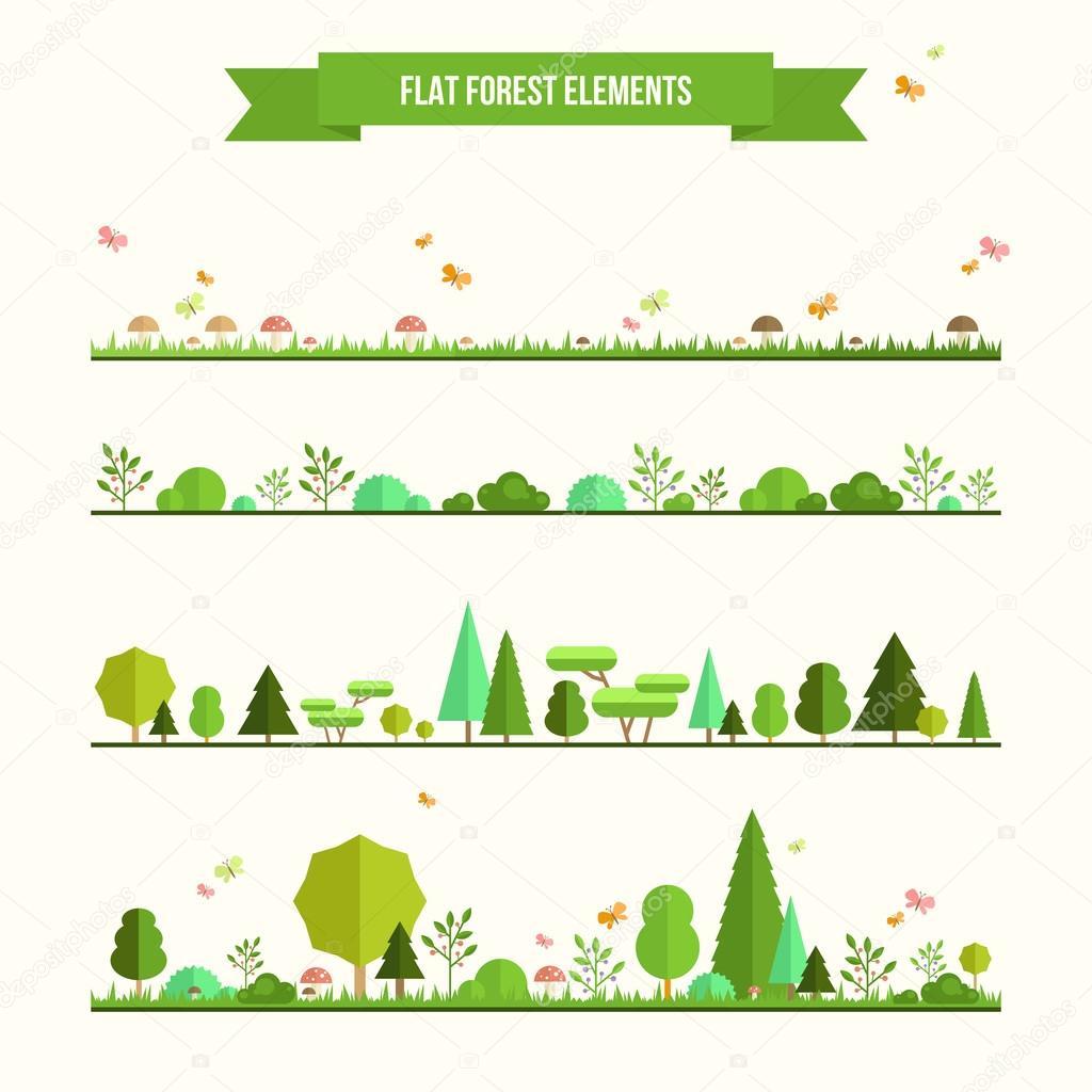 Фотообои Набор плоских элементов леса