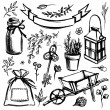 Set of garden tools and florals — Stock Vector #70060397