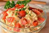 Homemade Potato Salad with Eggs and Pickles In Glass Bowl — 图库照片