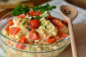 Homemade Potato Salad with Eggs and Pickles In Glass Bowl — Stock Photo
