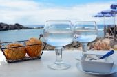 Two Glasses Of Watter on The Table With Sea Background — Fotografia Stock