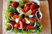 Fresh summer mixed vegetable salad with eggs — Stock Photo