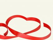 Heart from red ribbon. Isolated on white background — Stock Photo