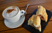 Tuna Baguette  And Cup Of Cappuccino — 图库照片