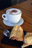 Tuna Baguette  And Cup Of Cappuccino — Stock Photo