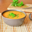 Pumpkin Creme Soup In The Bowl With Parsley — Stock Photo #70056427