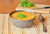 Pumpkin Creme Soup In The Bowl With Parsley — Stock Photo