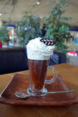 Viennese Coffee In Glass Cup With Whipped Cream — Stock Photo