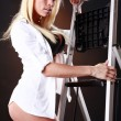 Cute blonde and ladder — Stock Photo #62802085