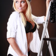 Cute blonde and ladder — Stock Photo #62802421