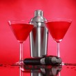 Cosmopolitan cocktail and shaker — Stock Photo #62803397