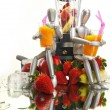 Fruits, dummies and blender — Stock Photo #62807341