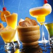 Cocktails on blue background — Stock Photo #62808685