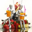 Fruits, dummies and blender — Stock Photo #62809281