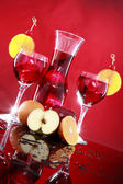Carafe and sangria in glasses — Stock Photo