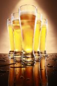 Beer in tall glasses — Stock Photo