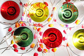 Multicolored martini in glasses — Stockfoto